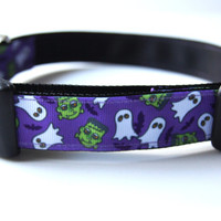 Frankenstein and Ghosts Purple Halloween Dog Collar Adjustable Sizes (M, L, XL)