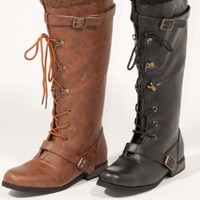 Freda05 Rider Style Lace Up Boot - Shoes 4 U Las Vegas