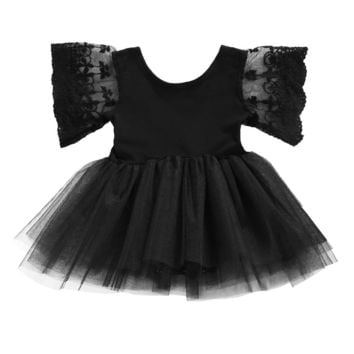 Newborn Kids Baby Girl Drsss Bodysuit Princess Tutu Dresses Summer Lace Floral Children Clothing Black Outfits 0-3Y