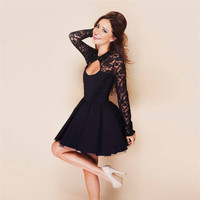 Hollow Out Lace Dress [6259296644]