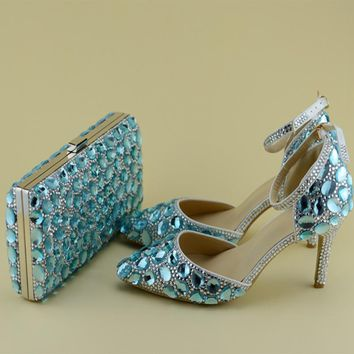 Spring and Summer Blue Rhinestone Shoes With Matching Bag Women Bridal Wedding Pointed Toe High Heels with Ankle Strap