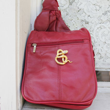 Red Bag, Retro Crossbody, Snake