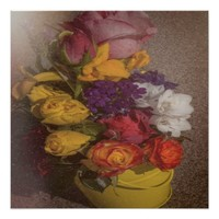 A bucket of beautiful flowers, poster