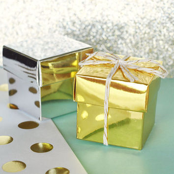 Favor Boxes Silver - Wedding Favors Birthday Party Mini Box - DIY Wedding Bridal Shower Baby Shower Supplies