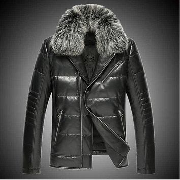 Sheep leather motorcycle real leather men down jacket fox fur collar short Slim plus size leather jacket male warm parkas MZ1150