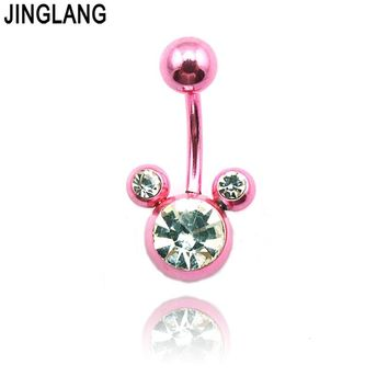 Belly Button Rings Dangle Brand New Belly Button Rings Stainless Steel Barbell Pink Navel Body Piercing Jewelry Free Shipping