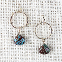 Hoop And Marble Earrings