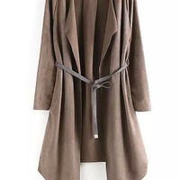 Khaki Long Sleeve Belt Coat