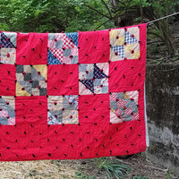 Vintage Mid Century Red Hand Tied Patchwork Quilt