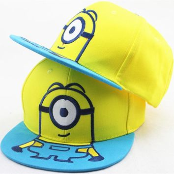 New Children Cartoon Steal Dads Film Yellow People Minions Snapback Flat Along the Baseball Cap Kids Hip-Hop Hat