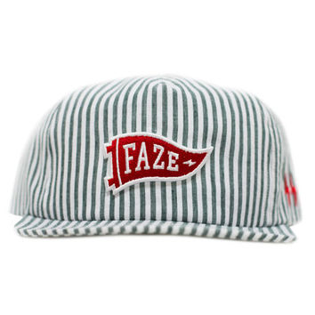 Fearless Stripes Snapback Hat in green and white