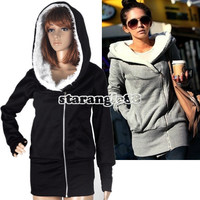 Hot Womens Long Sleeve Zip Up Tops Hoodie Coat Jacket Outerwear Sweatshirt SA88