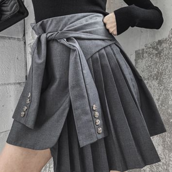 Summer dress sexy belt pleated suit personality skirt