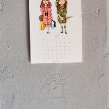 2013 Calendar Wes Anderson wall calendar cartoon drawing illustration poster comic digital print