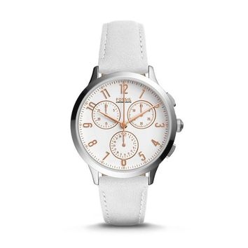 Abilene Chronograph Leather Watch, White | FOSSIL