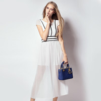 Solid Color Slim Waist Dress with Zipper
