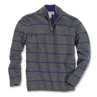 Quarter-Zip Lambswool Striped Sweater