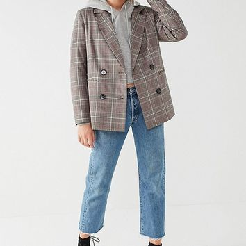 UO Red Checkered Blazer | Urban Outfitters