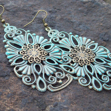 Patina Metal Filigree Earrings -   Light-weight Lace Teardrop Gypsy Earrings