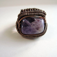 Amethyst Copper  Wire Wrapped Ring, Copper ring, Amethyst ring, OOAK ring, copper jewelry, purple ring, amethyst stone, gemstone ring