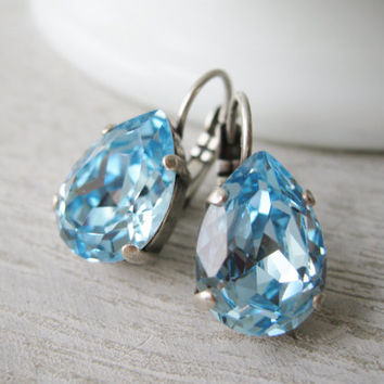 Teardrop Earrings Light Blue Swarovski Elements Aquamarine Spring Bridal Jewelry Bridesmaid Earrings Nickel Free