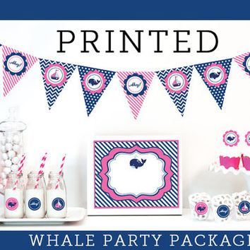 Pink Whale Baby Shower Decorations - Pink Whale Birthday Party Decor - Navy and Pink Nautical - Navy and Pink Baby Shower - Pink and Navy