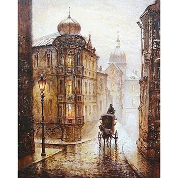Frameless City Street Europe DIY Painting By Numbers Kits Drawing Acrylic Picture Hand Painted Oil Painting Home Wall Art Decor