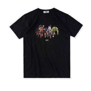 5346d4f5 2018 fashion t-shirt hip hop kith letter kanye west cotton black
