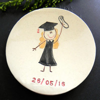 Personalized Graduation Ceramic Ring Dish Blond Girl with Graduation Hut OOAK Candle Holder