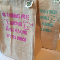 No Animals Harmed Vegan Lunch Bag / Recycled Cotton