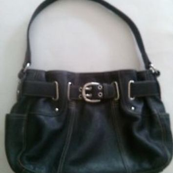 Tignanello Black Leather Buckle Purse Shoulder Bag Built in Wallet Organizer