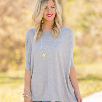 PIKO 3/4 Sleeve Top - Grey