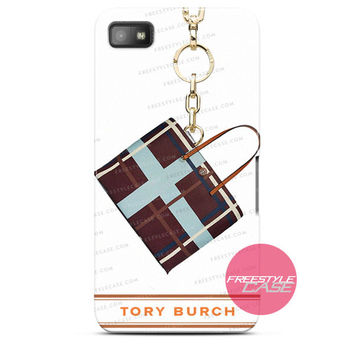 Tory Burch Plaid Berry Kerrington Square Tote  Blackberry Case Z10, Q10, Dakota Cover
