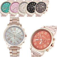 W@M Luxury Stylish Fashion Roman Number Geneva Stainless Steel Quartz Sports Dial Wrist Watch