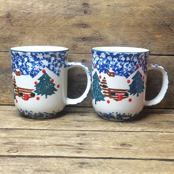 Set of 2 Folkcraft Cabin in the Snow Mugs by Tienshan spongeware