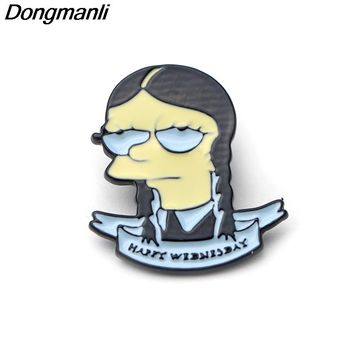 P2267 Dongmanli TV Shows Lisa Addams Lapel Pin Simpsons Addams Family Wednesday Addams Spooky Creepy Enamel Lapel Pins
