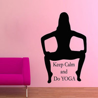 Wall Decals Vinyl Decal Sticker Gym Decor Girl Quote Keep Calm And Do Yoga KG800