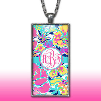 Floral Monogram Pendant Charm Necklace Aqua Teal Hot Pink Flowers Personalized Custom Initial Necklace Monogram Jewelry