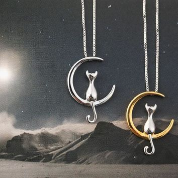 Moon Cat Charm Necklace
