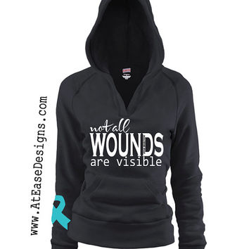 PTSD Awareness, not all wounds are visible Vneck hoodie.veteran usmc navy army usaf wife girlfriend AtEaseDesigns