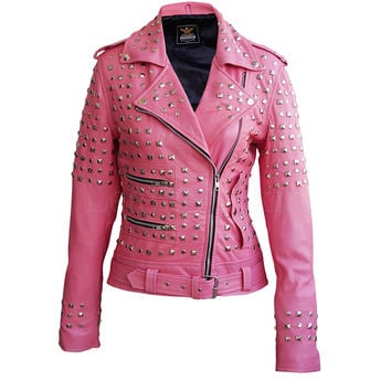 Pink Spike Studs Leather Jacket