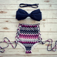 Striped Bow Bikini High Waist Swimwear Swimsuit
