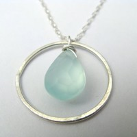 Circle Necklace - sterling silver chalcedony