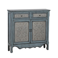 Powell 14a2048 Antique Blue and White Console