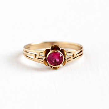Vintage 10k Yellow Gold Created Ruby Buttercup Flower Filigree Ring - Size 7 3/4 Pink Stone Fine Jewelry July Birthstone Hallmarked M&C