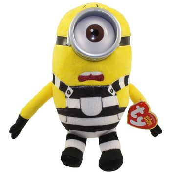 """Pyoopeo Ty Beanie Babies 6"""" 15cm Minions Jail Carl Plush Regular Stuffed Animal Collection Soft Doll Toy with both Tags"""