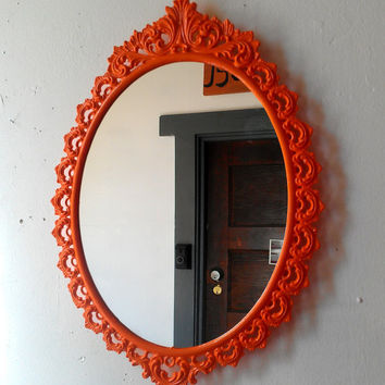 Oval Wall Mirror in Vintage Metal Frame - 15 x 11 inch Handpainted Brass in Flaming Orange