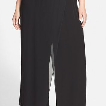 Plus Size Women's Alex Evenings Faux Wrap Wide Leg Pants,