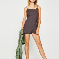 Checked criss-cross jumpsuit - Dresses - Bershka United States