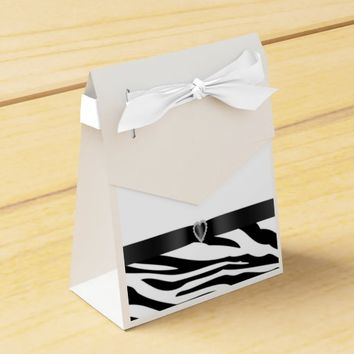Black and White Zebra Print Wedding Favor Bag Favor Box